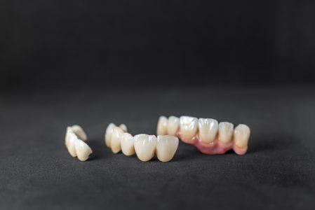 Dental crowns on the black background
